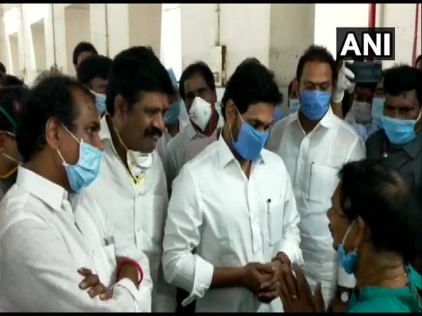 Andhra Pradesh Chief Minister YS Jagan Mohan Reddy at King George hospital to meet those hospitalized due to Vizag gas mishap.