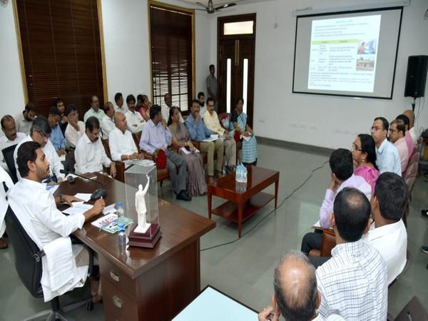 Chief Minister YS Jagan Mohan Reddy during a meeting in Amaravati, Andrha Pradesh.