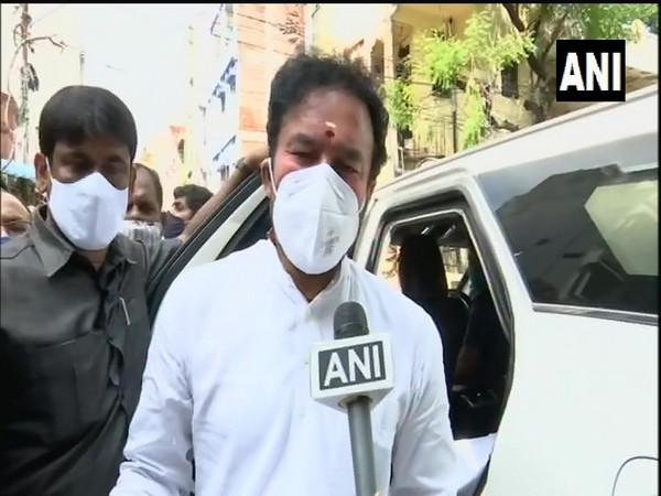 Union Minister of State G Kishan Reddy during his visit to rain-affected areas in Hyderabad on Thursday. (Photo/ANI)