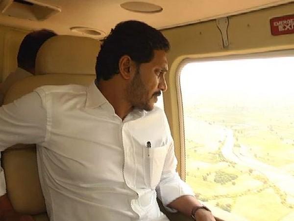 Andhra Pradesh CM YS Jagan Mohan Reddy conducting aerial survey of Kurnool district on Saturday. Photo/ANI