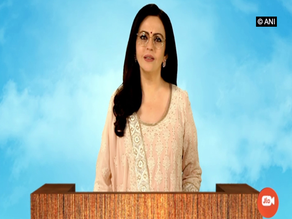 Reliance Foundation Founder and Chairperson Nita Ambani at Reliance Industries' 43rd AGM on Wednesday