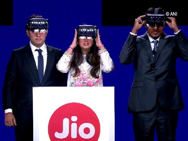 Mukesh Ambani's son Akash (left) and daughter Isha (centre) along with Jio's President Kiran Thomas at Reliance's 42nd Annual General Meeting in Mumbai on Monday.