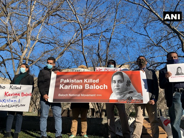 Members of Baloch National Movement protested in front of the Canadian Embassy in Washington, DC over death of activist Karima Baloch. (Photo/ANI)