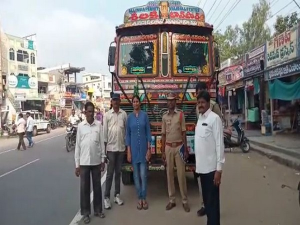Kanchikacherla police with one of the seized vehicles on Wednesday.
