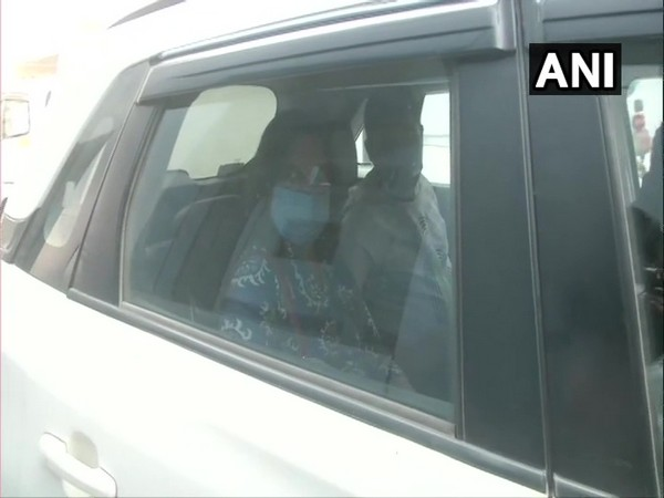 Slain gangster Vikas Dubey's wife Richa arrived at ED office in Lucknow on Wednesday. Photo/ANI