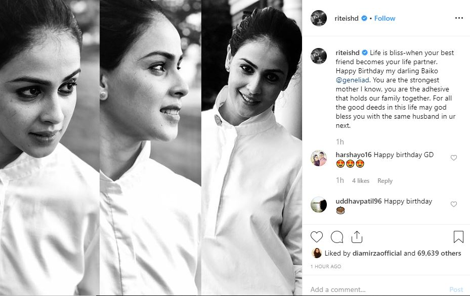 This is how Riteish wished his 'Baiko' Genelia on her birthday!