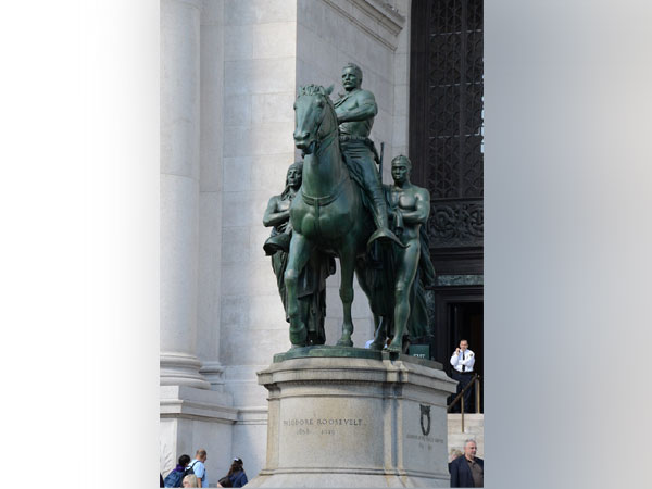The statute of former US President Theodore Roosevelt outside the American Museum of Natural History in New York City.