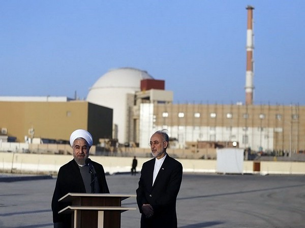 Iranian President Hassan Rouhani and head of Atomic Energy Organization of Iran Ali Akbar Salehi at Bushehr Nuclear Plant