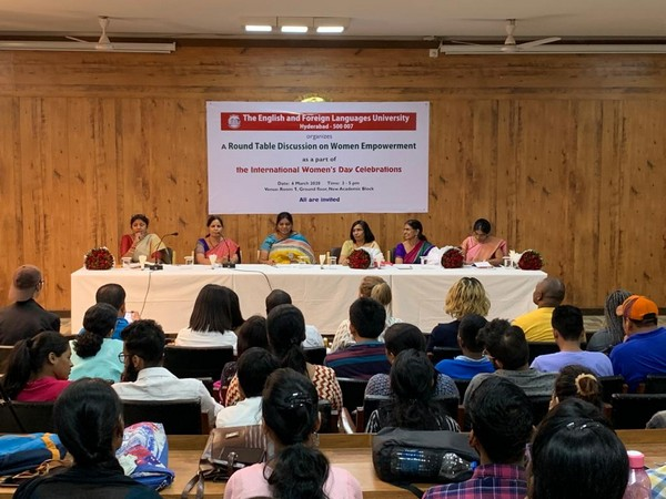 Round table discussion on women empowerment at EFLU in Hyderabad on Friday.