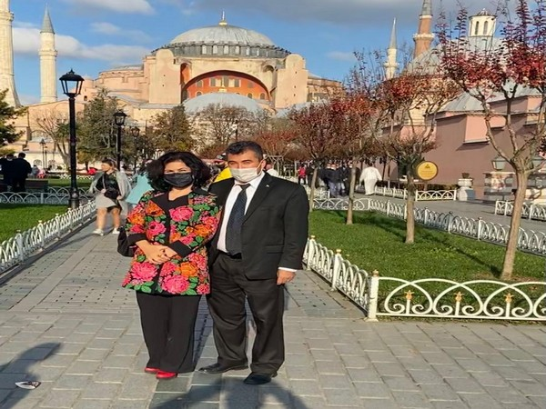 Uyghur activist Rushan Abbas with her husband Abdulhakim is Istanbul.
