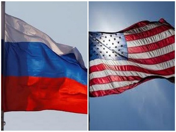 Flags of Russia and US.