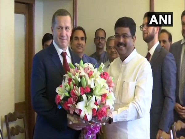 Deputy Prime Minister of Russia, Yury Petrovich Trutnev with Union Minister of Petroleum and Natural Gas Dharmendra Pradhan in New Delhi on Wednesday