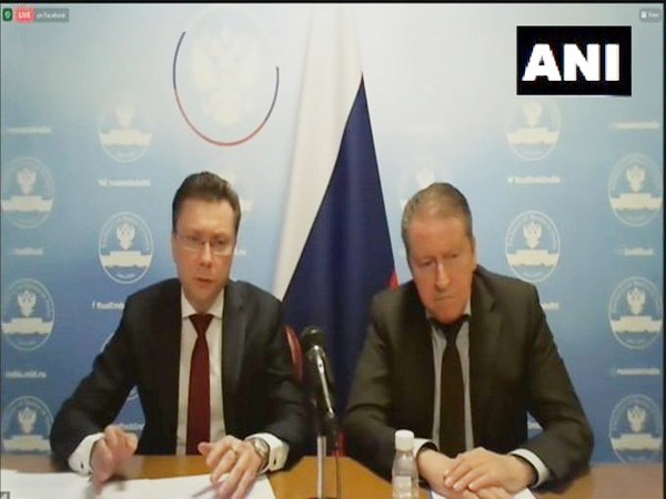 Russian Deputy Envoy to India Roman Babushkin and Russian Ambassador to India Nikolay Kudashev during the Press briefing (ANI)