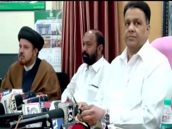 Telangana State Waqf Board chairman Mohammed Saleem (at Right side) speaking at a meeting in Hyderabad on Saturday. (Photo/ANI)