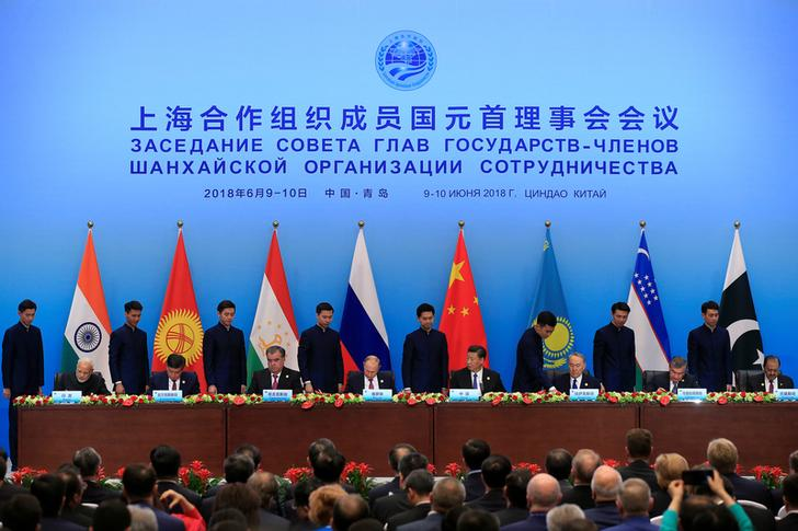 Leaders attend signing ceremony during the Shanghai Cooperation Organisation (SCO) summit on Thursday.