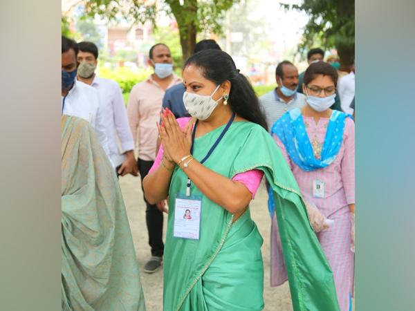 Telangana Rashtra Samithi (TRS) candidate and former Member of Parliament Kalvakuntla Kavitha. (Photo/ANI)