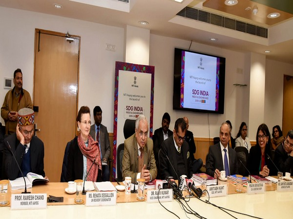 NITI Aayog Vice-Chairman Rajiv Kumar (centre) addressing at the launch of SDG India Index and Dashboard 2019-20 in New Delhi on Monday