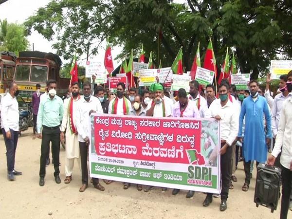 SDPI members protesting in Shivamogga (Photo/ANI)