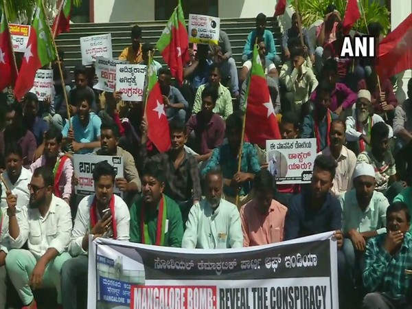 Visual from the protest by SDPI members in Mangaluru on Thursday. Photo/ANI