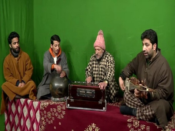 Visual of artists while they are making a folk album in a private studio at SInghpora Pattan