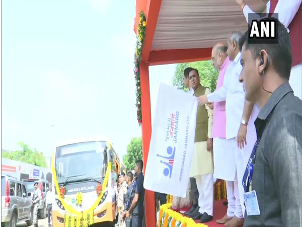 Gujarat: Union Home Minister Amit Shah flags off battery operated Eco-friendly buses in Ahmedabad [Photo/ANI]