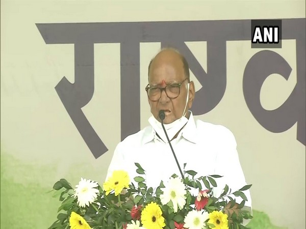 NCP chief Sharad Pawar addressing a party event in Ranchi. (Photo/ANI)