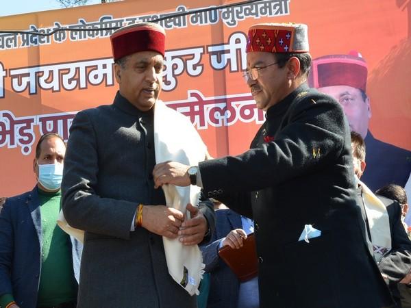 Visual of Himachal Pradesh Chief Minister Jai Ram Thakur addressing the Gaddi community in Kangra. (Photo/ANI)