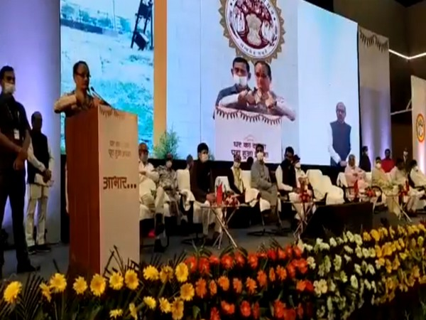 Visual of Madhya Pradesh Chief Minister Shivraj Singh Chouhan addressing the gathering in Indore (Photo/ANI)