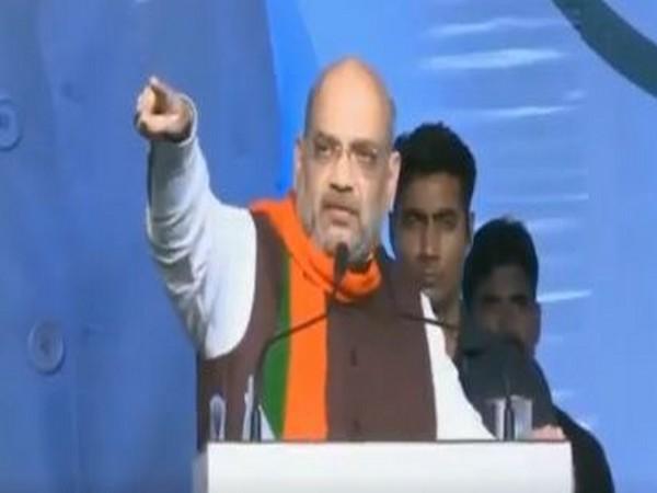 Union Home Minister Amit Shah addressing a public gathering in SOlapur, Maharashtra on Sunday. (Photo/ANI)