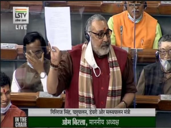 Union Minister of Fisheries, Animal Husbandry and Dairying of India, Giriraj Singh in Lo Sabha