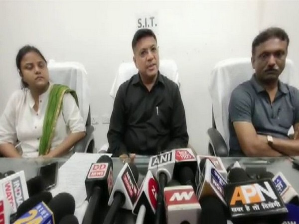SIT chief Naveen Arora with other members of his team at the press conference in Shahjahanpur on Wednesday. Photo/ANI