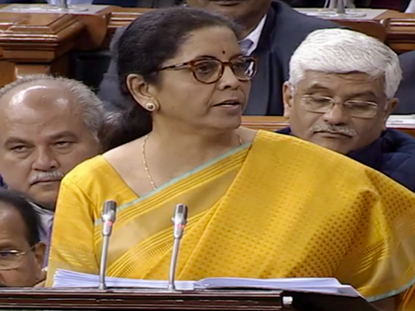 Finance Minister Nirmala Sitharaman during her budget speech in Parliament on Saturday. Photo/LSTV