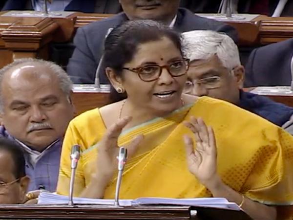 Finance Minister Nirmala Sitharaman presenting Union Budget 2020-21 in Lok Sabha on Saturday. Photo/LSTV
