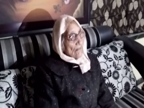 97-year-old Vidhya Devi talking to reporters on Friday. Photo/ANI