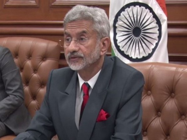 External Affairs Minister S Jaishankar speaking to the Foreign Ministers of Central Asia during the second meeting of the India-Central Asia Dialogue. Photo/ANI