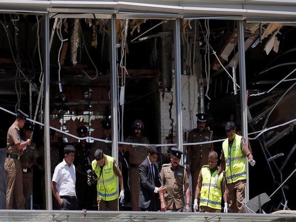 Officials inspecting the explosion area at Shangri-La hotel in Colombo, Sri Lanka, on April 21.