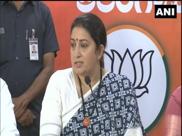 Union Minister Smriti Irani speaking with the media on Wednesday in Hyderabad. [Photo/ANI]