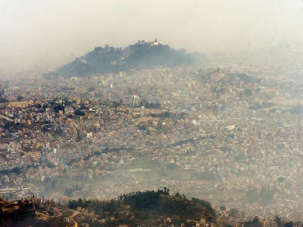 Smog engulfed Kathmandu Valley. Photo/ANI