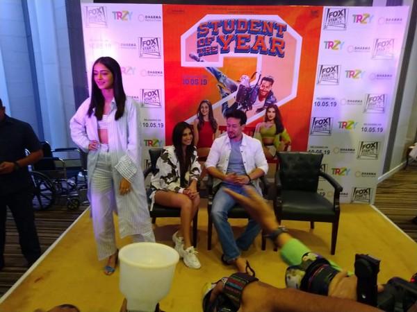 Ananya Pandey, Tara Sutaria and Tiger Shroff during a press conference in Delhi