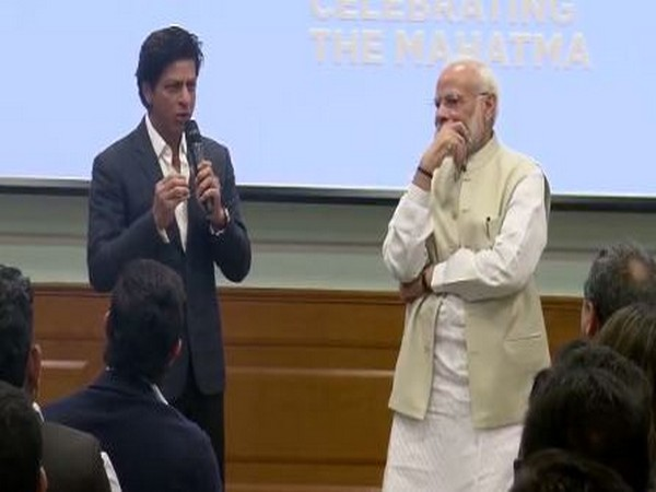 Actor Shah Rukh Khan with Narendra Modi during an interactive session of members of film fraternity in New Delhi on Saturday.