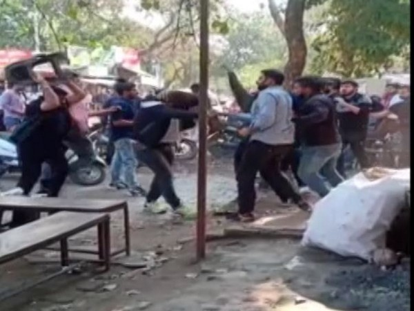 A still from viral video showing fights between two groups in Meerut. Photo/ANI