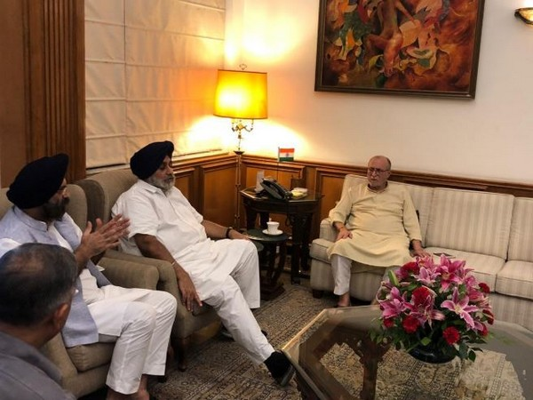 Sukhbir Badal met Lieutenant Governor of Delhi Anil Baijal at his residence on Monday.