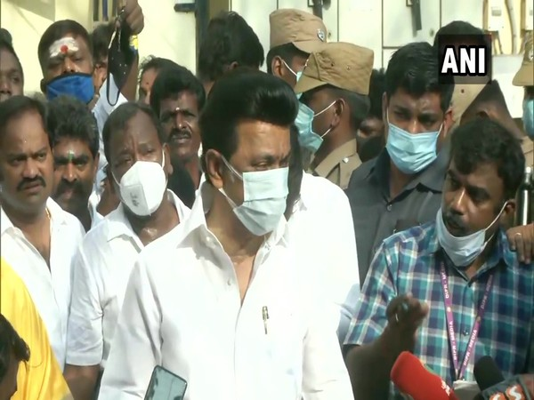 DMK President MK Stalin after casting his vote on Tuesday. (Photo/ANI)