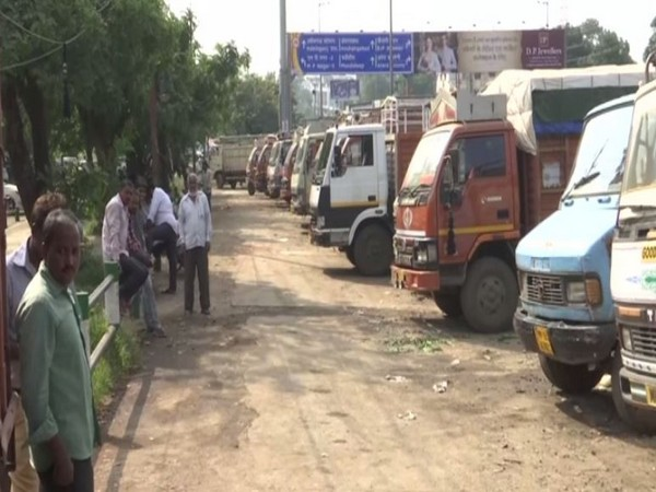 Transporters have begun an indefinite strike in the state. Photo/ANI