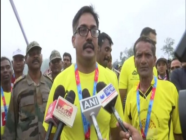 Deputy Inspector General of Police, South Bastar Range, Chhattisgarh, P Sundarraj talking to reporters on Saturday.