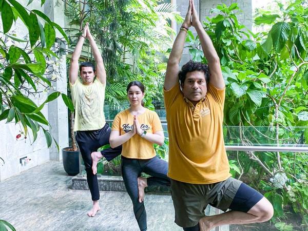 Sachin Tendulkar doing yoga with kids Sara and Arjun on Sunday. (Photo/Sachin Tendulkar Twitter)