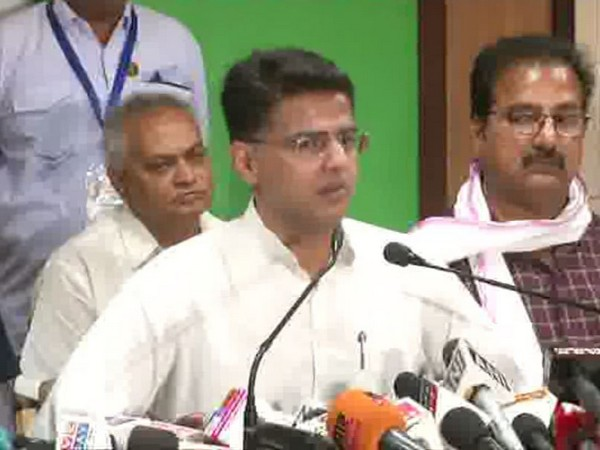 Rajasthan Deputy Chief Minister Sachin Pilot addressing media persons in Jaipur on Saturday. Photo/ANI