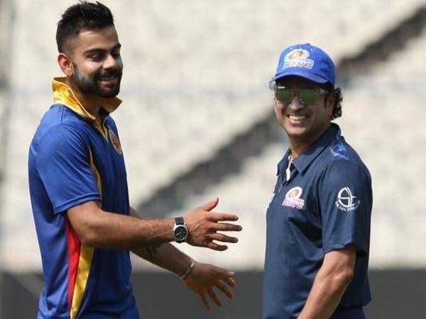 Virat Kohli (left) with Sachin Tendulkar (right) (Photo/ Sachin Tendulkar Twitter)