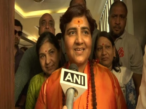 Sadhvi Pragya Thakur speakig to media after her name was announced from Bhopal constituency.