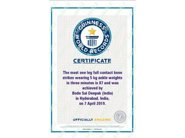 The certificate issued by Guinness Book Of World Records to B Sai Deepak Patel. Photo/ANI
